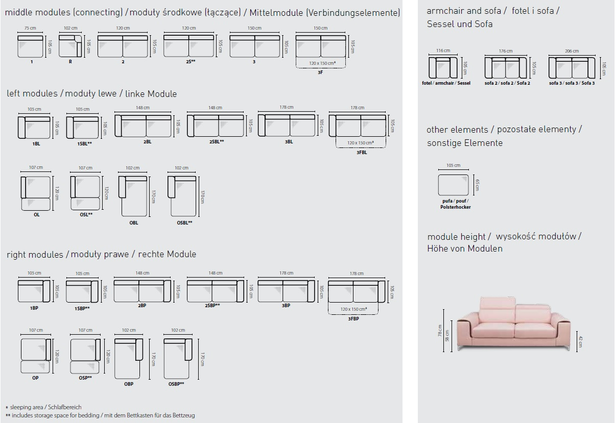 Sofa bed GENOVA COLLECTION - Build your own!
