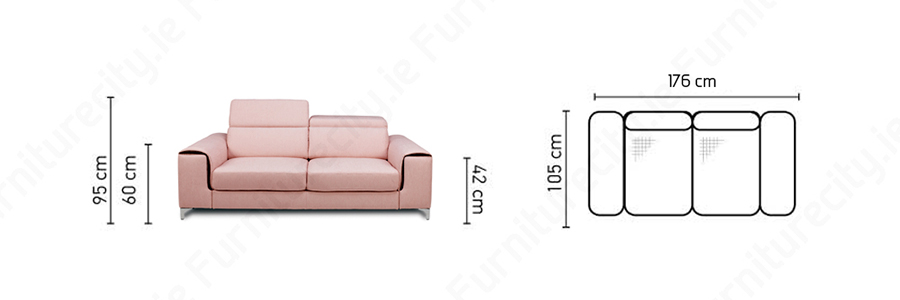 Sofa GENOA 2 seater by Furniturecity.ie